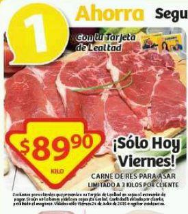 Soriana: Promoción Tarjeta Lealtad 24 de Julio Carne de Res Para Asar