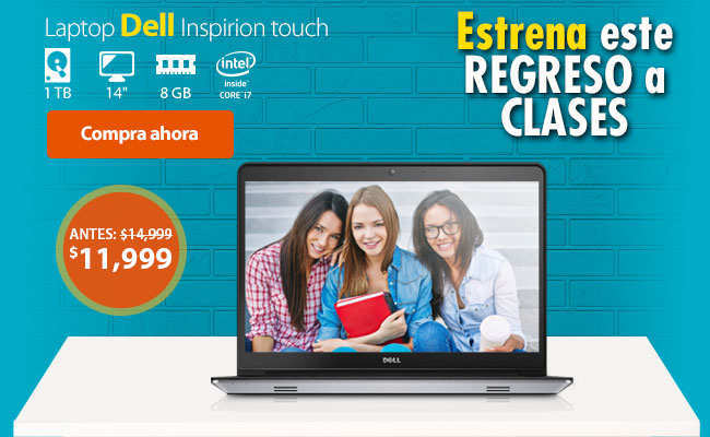 Walmart: Laptop Dell Inspiron I5447 Touch Intel Core i7 8GB RAM 1 TB a $12,000