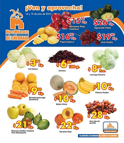 Chedraui: Martes y Miércoles de Frutas y Verduras 14 y 15 de Julio ...