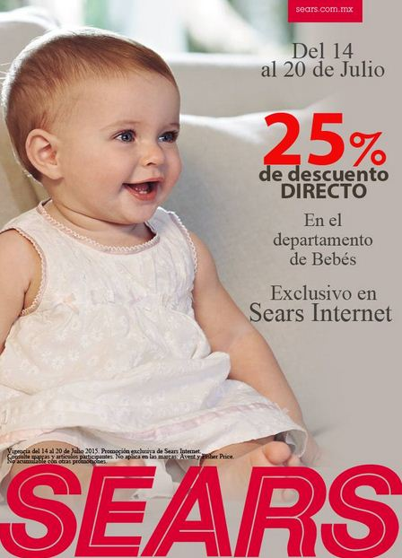 Sears: 25% de descuento Directo en el Departamento de Bebés