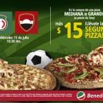 pizza grande mas 15 pesos llevate dos
