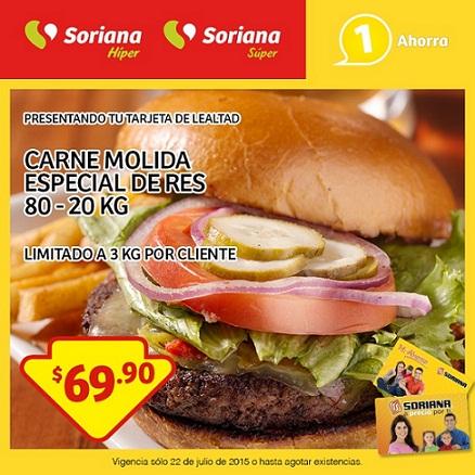 Soriana: Promción Tarjeta de Lealtad Carne Molida Especial 22 de Julio