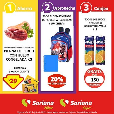 Soriana: Promoción Tarjeta de Lealtad Pierna de Cerdo con Hueso 18 de Julio