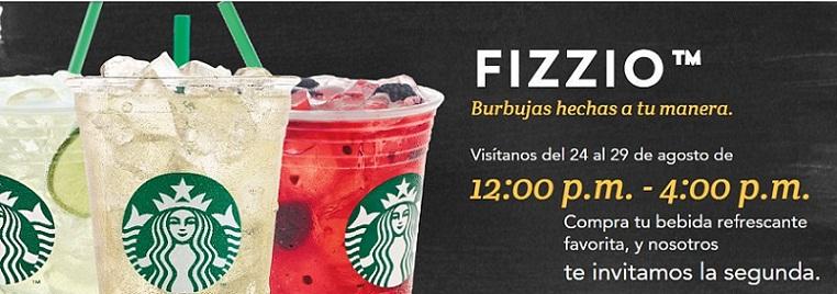 Starbucks: Happy Hour de 12:00 pm a 4:00 pm 2×1 en Bebida Fizzio