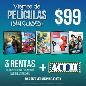 Blockbuster: Viernes de Películas 3 Rentas más ACT ll a $99
