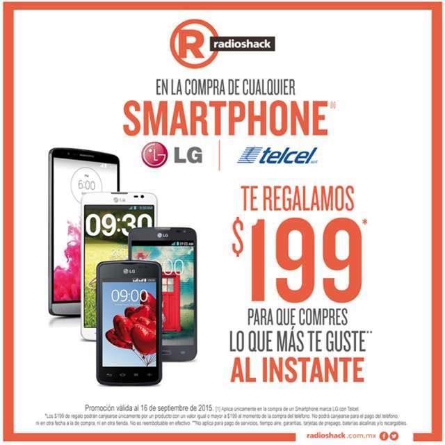 RadioShack: Compra un Celular LG Telcel y te regalan $199