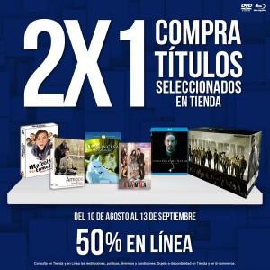 Blockbuster: 2×1 en Títulos seleccionados comprando en Tiendas y 50% de descuento en Línea