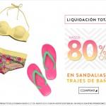 dafiti liquidación total en sandalias y trajes de baño
