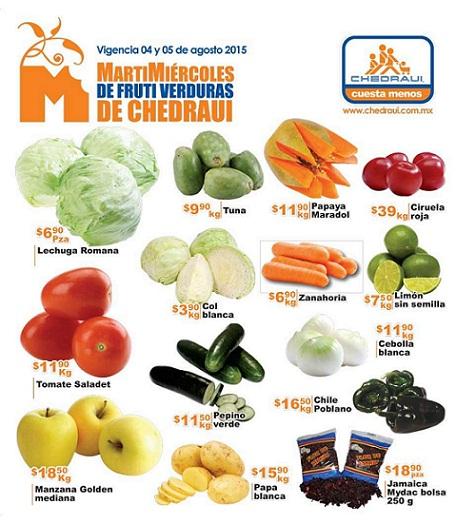 Chedraui: Martes y Miércoles de Frutas y Verduras 4 y 5 de Agosto