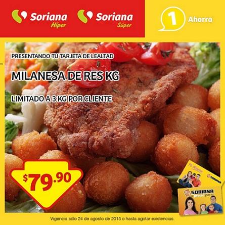 Soriana: Promoción Tarjeta de Lealtad 24 de Agosto Milanesa de Res