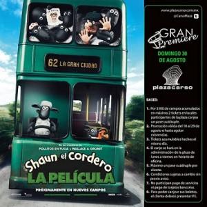 Plaza Carso: Te lleva a ver la película de Shaun El Cordero el Domingo 30