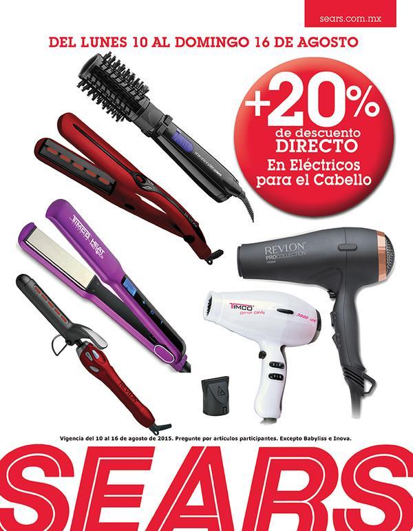Sears: 20% de descuento en Eléctricos para cabello del 10 al 16 de Agosto