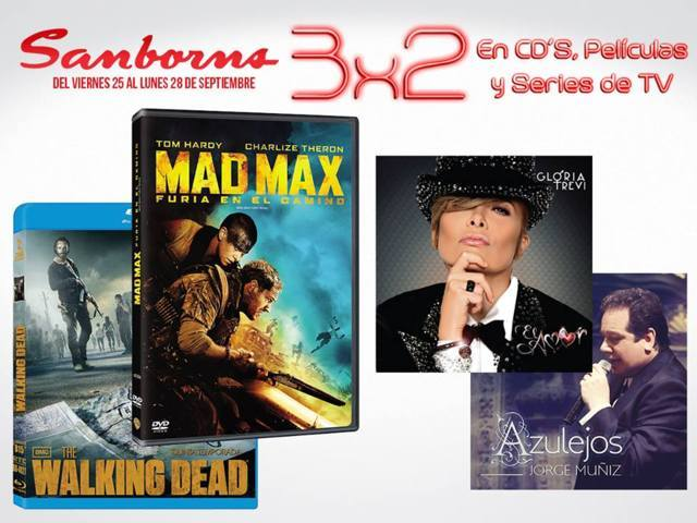 Sanborns: 3×2 en Películas, Series de TV y CD´s
