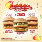 30 aniversario de mcdonalds promociones en hamburguesas OFFDE