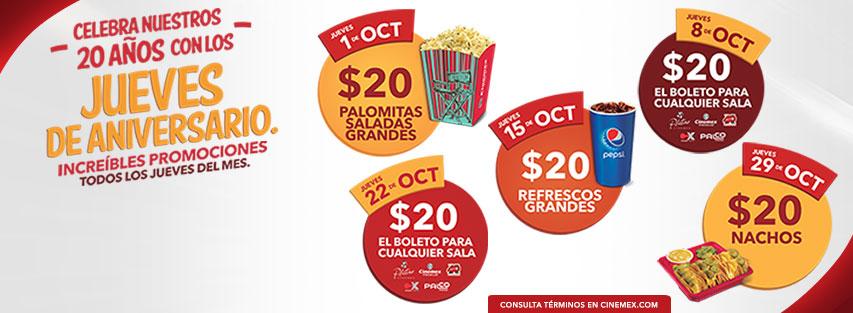 Cinemex: Jueves de Aniversario Todos los Jueves del Mes Promociones Especiales