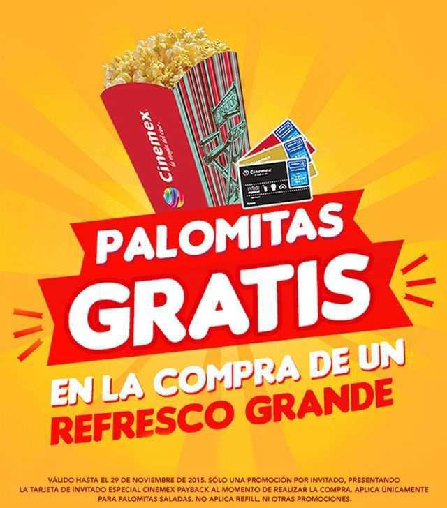 Cinemex: Palomitas Gratis en la Compra de Refresco Grande