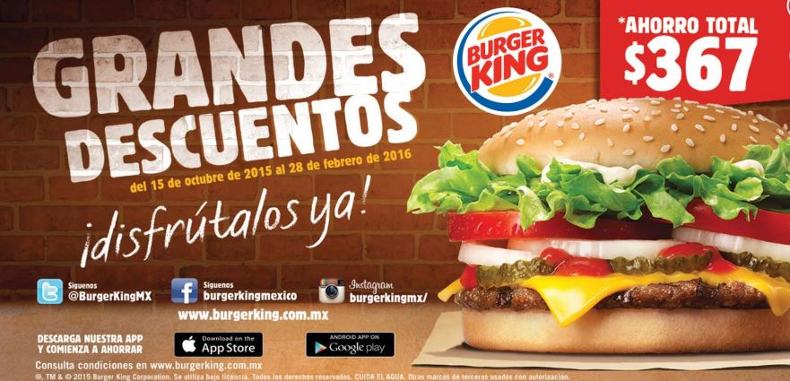 Burger King: Cuponera del 15 de Octubre 2015 al 18 de Febrero del 2016