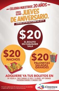 boletos, nachos y palomitas a 20 OFFDE