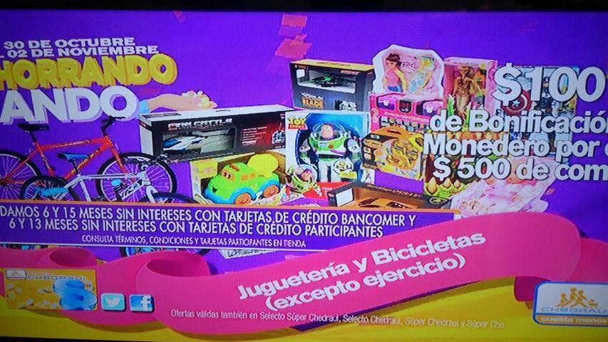 Chedraui: Promociones de fin de semana $100 de bonificación por cada $500 en juguetería y bicicletas y más