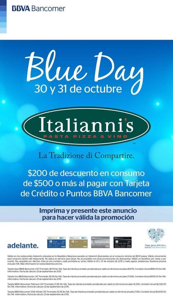 Italianni´s: Blue Day $200 de descuento en consumos de $500 o más pagando con Bancomer 30 y 31 de Octubre