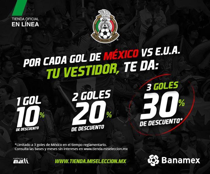 Martí: Hasta 30% de descuento en productos de la selección si México anota 3 goles a EUA