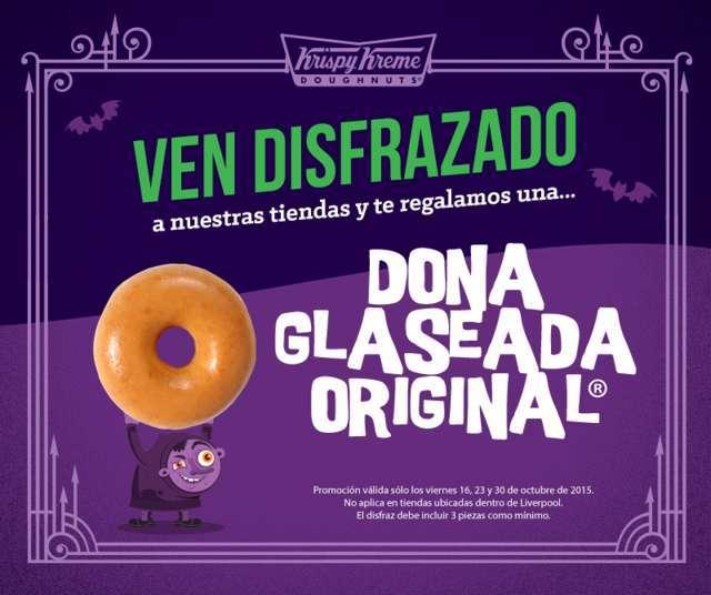 Krispy Kreme: Dona Glaseada Original Gratis si te presentas disfrazado válido en todas las sucursales