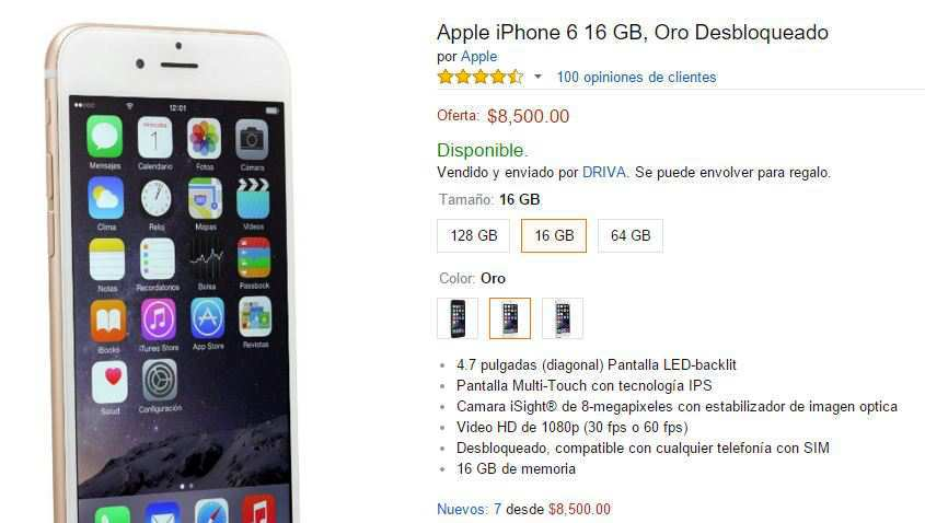 Amazon: iPhone 6 Gold a $8,665