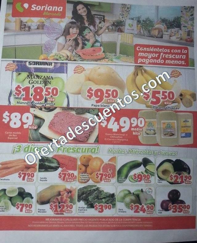 Soriana Mercado: 3 días de frescura en frutas y verduras del 20 al 22 de Octubre