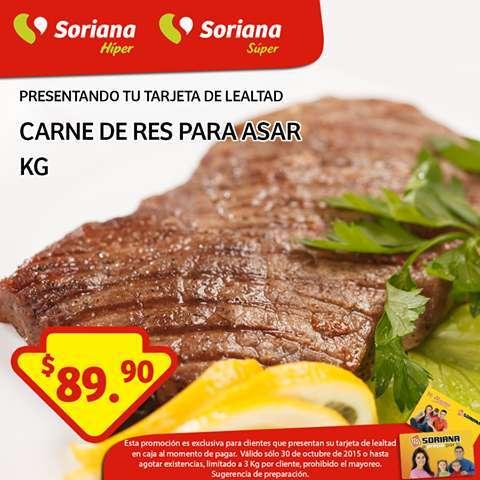 Soriana: Promoción Tarjeta de Lealtad 30 de Octubre Carne de Res para asar
