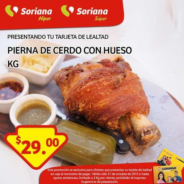 Soriana: Promoción Tarjeta de Lealtad 31 de Octubre Pierna de cerdo con hueso