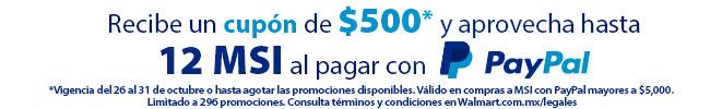 Walmart: Cashback de $500 pagando con PayPal y hasta 12 meses sin intereses