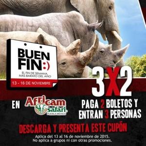 Promociones del Buen Fin 2015 en Africam Safari: 3×2 en entradas y más