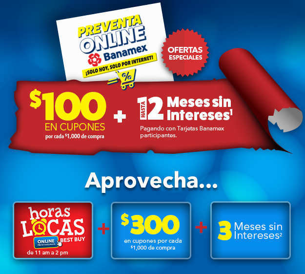 Best Buy: Ofertas Pre Buen Fin $100 en Cupones y 12 Meses sin Intereses