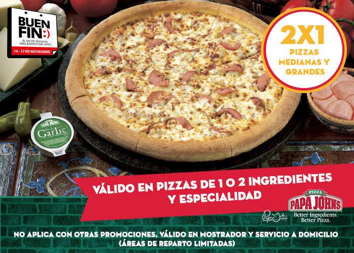 Promoción Buen Fin 2015 Papa  John's: 2×1 en Pizzas Medianas y Grandes