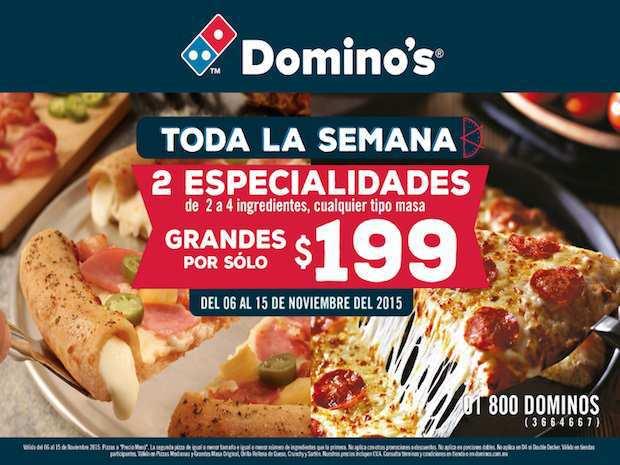 Promociones del Buen Fin 2015 en Domino's Pizza Todas las Pizzas Grandes en $199