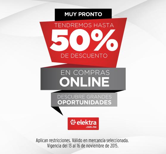 Elektra: Promociones del Buen Fin 2015 Hasta 50% de Descuento en Tienda en Linea