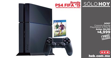 HEB: Consola PS4 Bundle FIFA 15 a $4,999