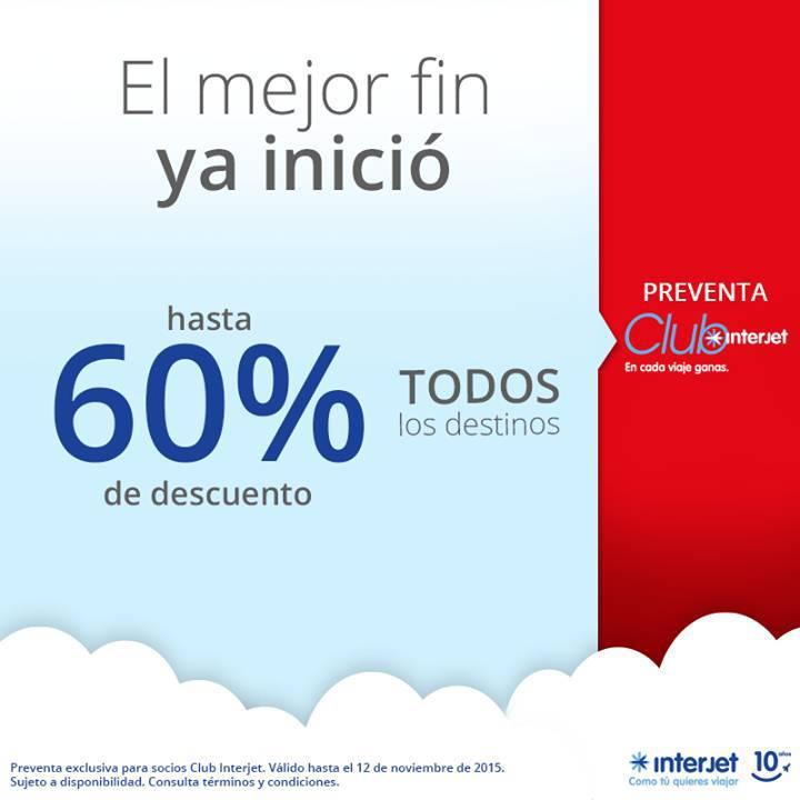 Interjet: Promociones el Buen Fin Hasta 60% de Descuento