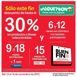 Juguetrón: Promociones del Buen Fin 2015 Hasta 30% de descuento