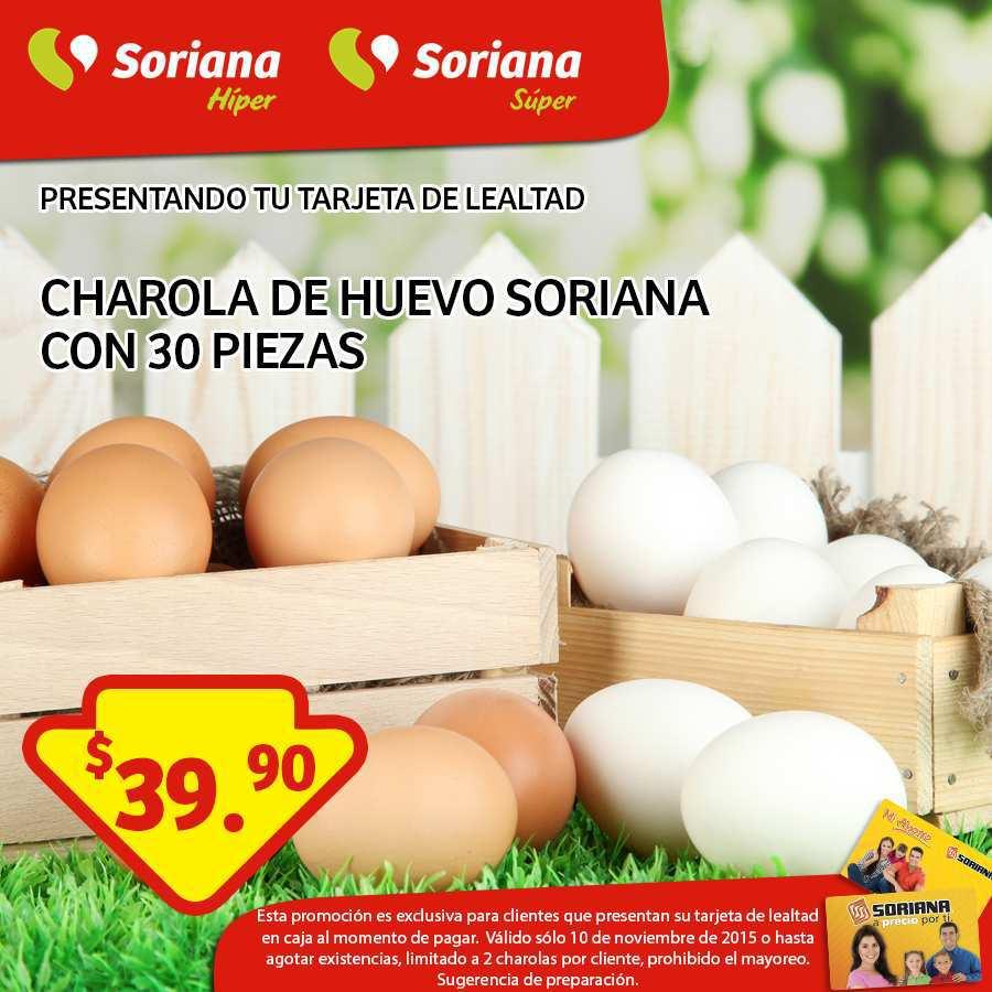 Soriana: Promociones Tarjeta Lealtad 10 de Noviembre Tapa de Huevo a $39