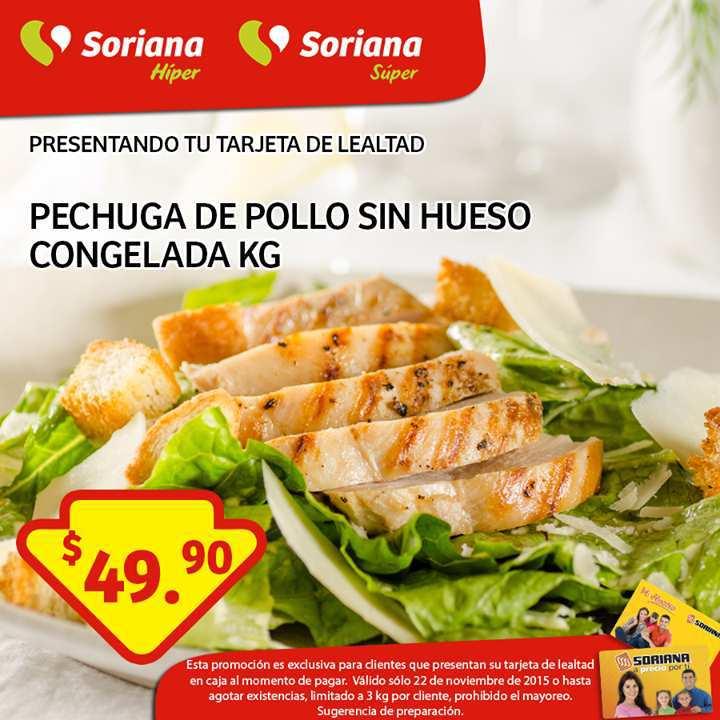 Soriana: Promoción Tarjeta Lealtad 22 Noviembre Pechuga de Pollo sin Hueso Congelada
