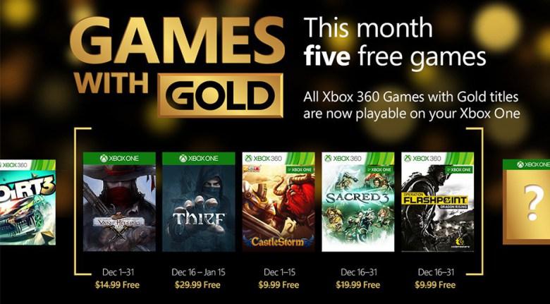 Xbox Live: Juegos con Gold Gratis en Diciembre 2015
