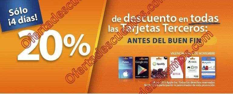 Chedraui: Adelantos del Buen Fin 2015 20% de descuento en Tarjetas de Terceros (iTunes, Google Play y más)
