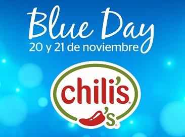 Chilli´s: Blue Day $200 de descuento por cada $500 de consumo 20 y 21 de Noviembre