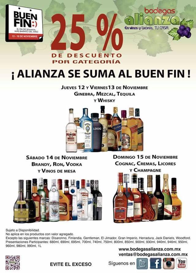 Promociones del Buen Fin 2015 en Bodegas Alianza: 25% de descuento por categoría de vinos y licores
