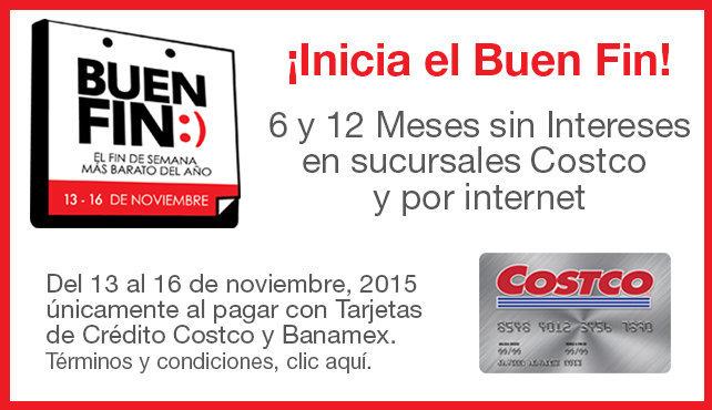 Costco: Promoción del Buen Fin 2015, 18 meses sin intereses y 1 de bonificación con Banamex