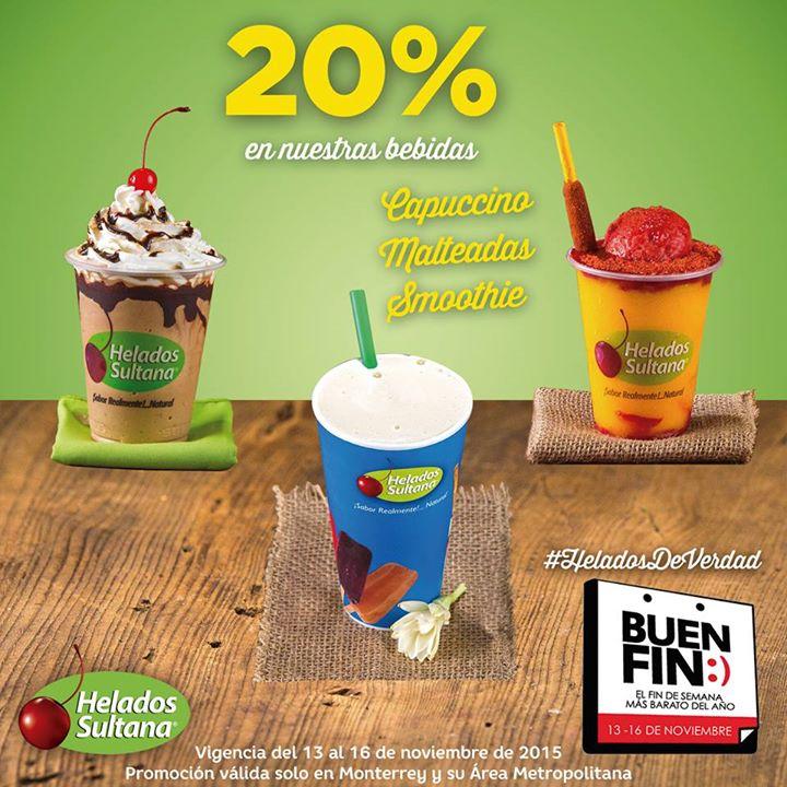 El Buen Fin 2015: Helados Sultana 20% de descuento en Capuccino, Malteadas y Smoothies