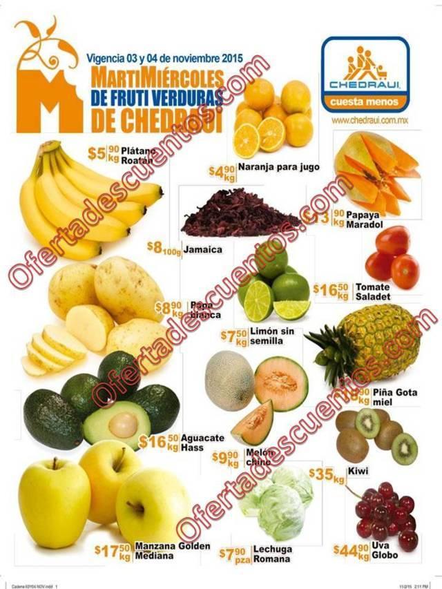 Chedraui: Martes y Miércoles de Frutas y Verduras 3 y 4 de Noviembre