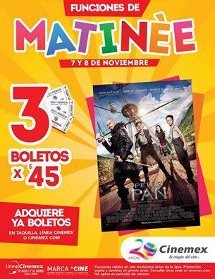 """Cinemex: 3 entradas por $45 para """"Peter Pan"""" en funciones matinée 7 y 8 de Noviembre"""