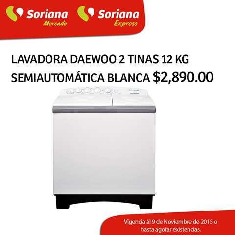 Soriana Mercado: Lavadora Daewoo 2 tinas 12 kg a $2,890